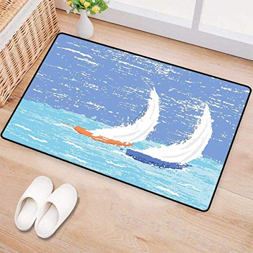 Nautical,Door Mats,Grunge Style Illustration of Two Racing Sailboats in A Windy Ocean Water Print,Bath Mats for Bathroom,Pale Blue -