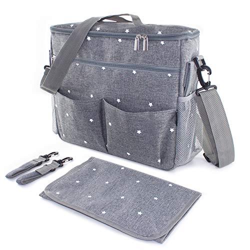Bolso cambiador para carrito de bebe. Organizador con interior termico, ganchos y correa universal. Compacto y moderno. Gris/estrellas.