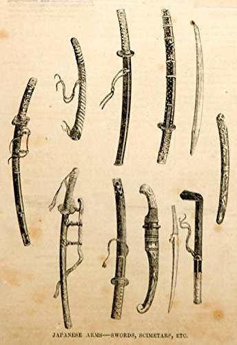 1854 Engraving Japanese Weapons Arms Swords Scimitars Japan Historic Antique - Original In-Text Wood Engraving