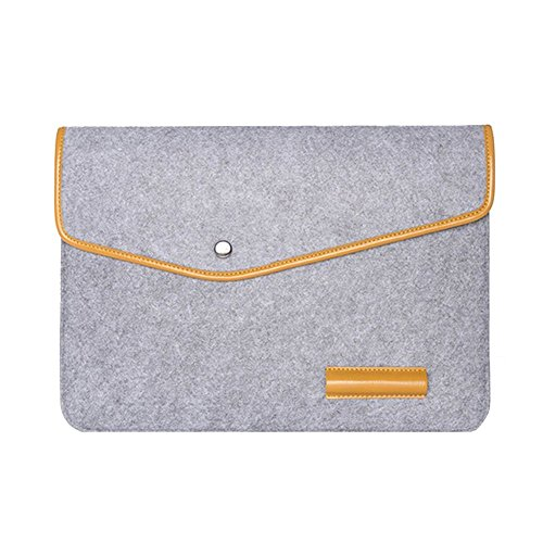 Happy Hours - 15 Inch Portable Eco Felt and PU Leather Trim Waterproof Laptop Notebook Envelope Bag / Premium Handmade Tablet Computer Protective Sleeve Case for MacBook Air, Macbook Pro(Light Gray)