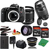 Great Value Bundle for T6S DSLR – 18-55mm STM + 75-300mm III + 2PCS 16GB Memory + Wide Angle + Telephoto Lens + Case