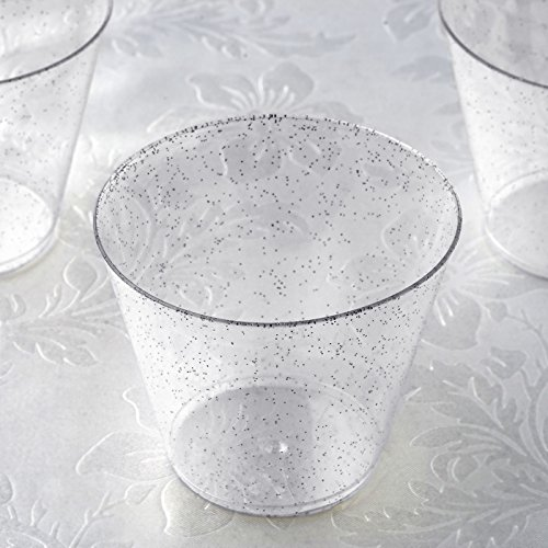 BalsaCircle 60 pcs 9 oz Silver Glittered Clear Plastic Wine Glasses - Disposable Wedding Party Catering Tableware