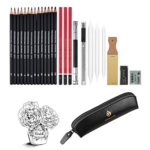 26 Pieces Sketch & Drawing Art Supplies Set, Drawing Pencils and Sketching Tools Kit, Graphite Charcoal Professional Pencils Set,Great Gift for Kids Adults (Black)