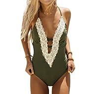 Women's Ladies Vintage Lace Bikini Sets Beach Swimwear Bathing Suit Green