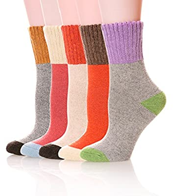 SDBING Women's Super Thick Winter Warm Casual Wool Soft Crew Socks Color Varies