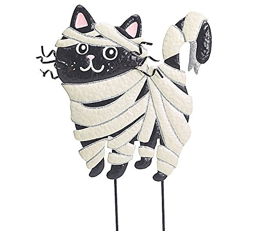 [Cat Mummy Tin Yard Stake] (Halloween Yard)