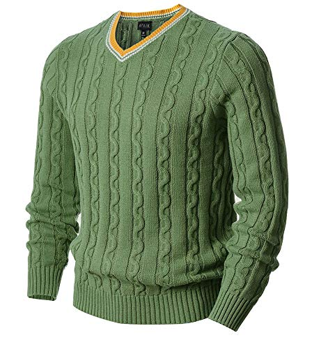 AFAIK Men's Long Sleeve Pullover V-Neck Cotton Knitted Casual Sweater (Large, 1022-Grass ()