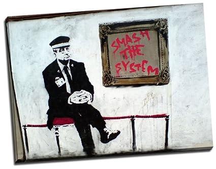 canvas35 reproducción impresa, una foto de Banksy Smash el sistema ...