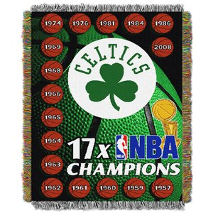 Officially Licensed NBA Boston Celtics Commemorative Woven Tapestry Throw Blanket, 48