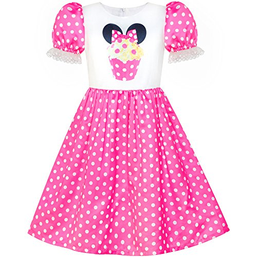 Sunny Fashion Girls Dress Birthday Cupcake Polka Dot Birthday Princess Size 7 for $<!--$6.99-->