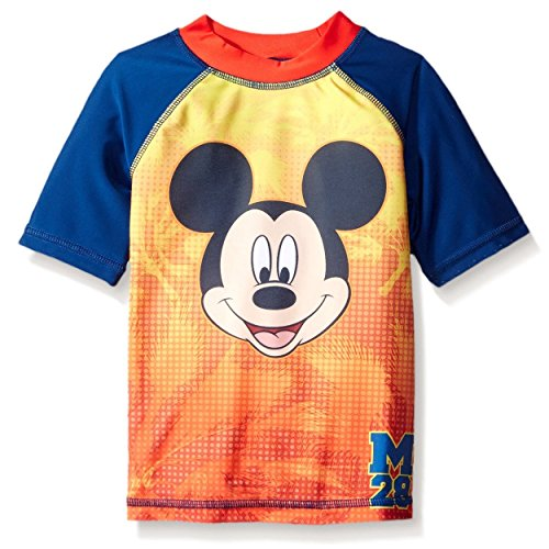 Mickey Mouse Boys Rashguard Swimwear (3T, M Navy)