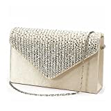 ChilMo Women Evening Envelope Rhinestone Frosted Handbag Party Bridal Clutch Purse,Apricot