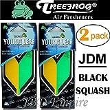 japanese car accessories - 2 Pack Treefrog Wakaba Young Leaf Japanese Air Freshener Black Squash JDM Car Auto