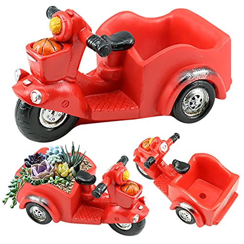 Mortilo Personalized Bus/Motorcycle Flowerpots Planter, Mini Creative Flower Pot Garden Home Decoration, Outdoor Indoor Spaces Great Gift for Home Garden Decor (A)