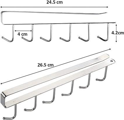 perchas resistentes para colgar tazas teteras Cymax Soporte adhesivo para tazas debajo del gabinete 2 ganchos para taza de caf/é para cocina utensilios de cocina,Argento