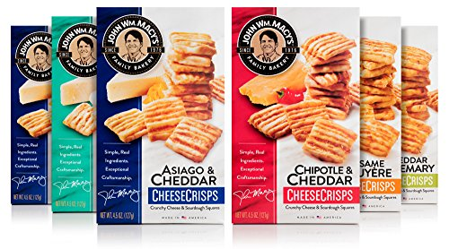 Asiago Cheese Straws - John Wm. Macy's CheeseCrisps Variety Pack with Asiago & Cheddar, Chipotle & Cheddar, Sesame Gruyere, Cheddar Rosemary, Melting Romano, 4.5 Ounce Boxes, 6 Count