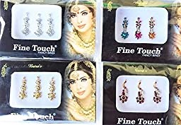 4 Pack Gold, Silver, Maroon and Multi Color Assorted Big Size Bollywood Head Bindi Tattoo Indian Art Rhinestone Stickon Reuseable