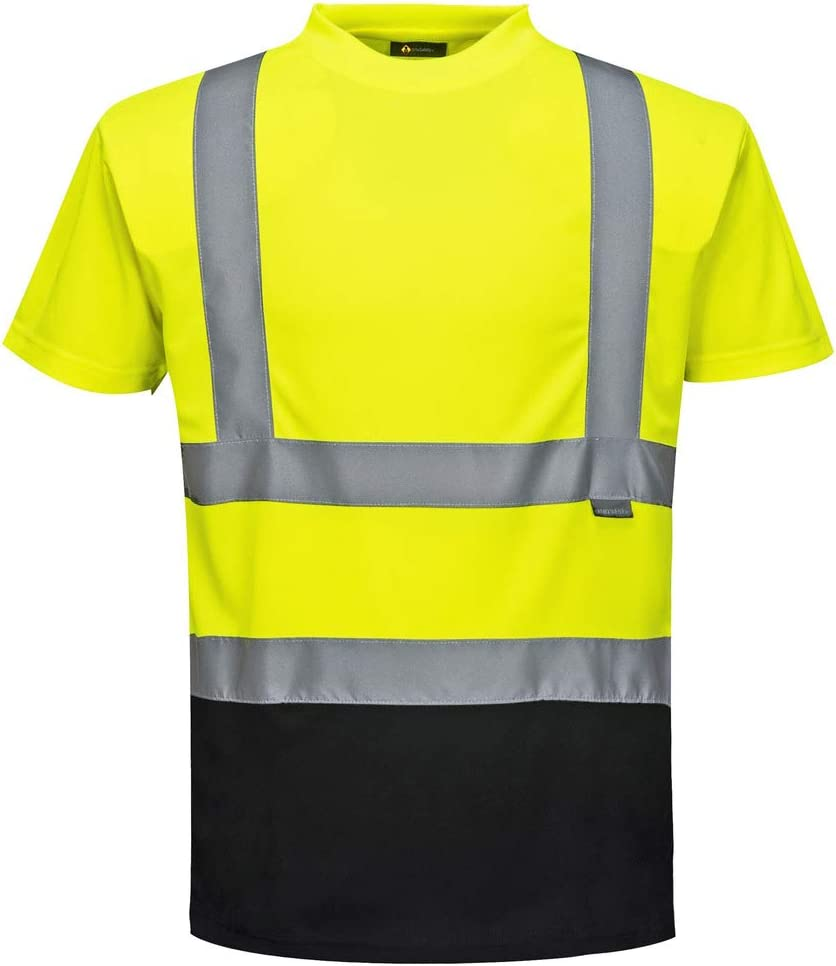 Mens Boys Hi Viz Visibility VNeck Shirt Boys Tape Safety Security Work T Shirt