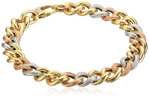 14k Gold Tri-Color Italian Polished and Textured Link Bra...