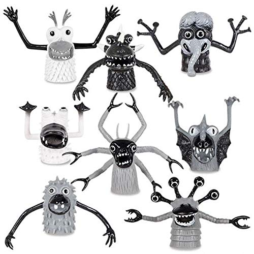 Set of 8 Black & White Monster Finger