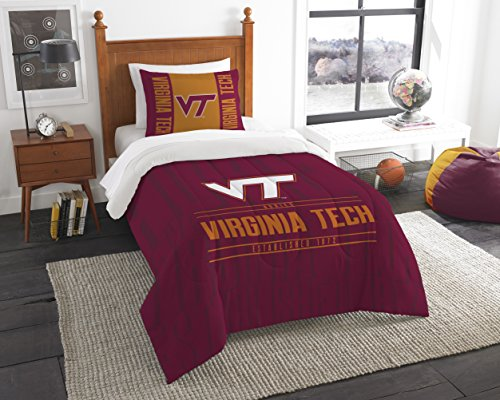 Virginia Tech Twin Comforter - The Northwest Company Officially Licensed NCAA Virginia Tech Hokies Modern Take Twin Comforter and Sham