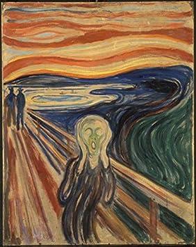 Wieco Art The Scream by Edward Munch - Reproducción de cuadros abstractos para decoración de pared, lienzo moderno para el hogar y la oficina, MUNCH-0001-3040
