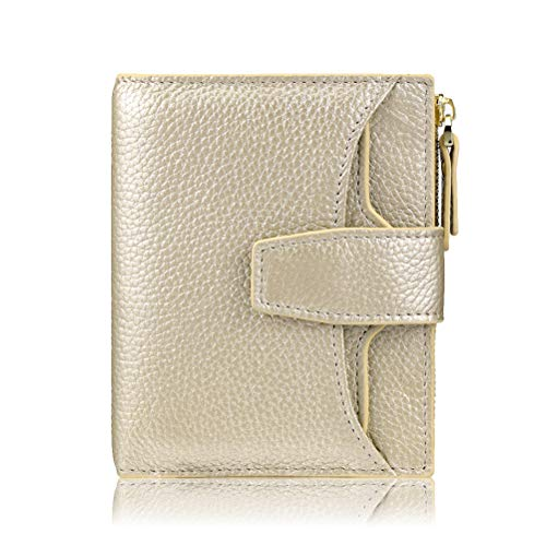 FT FUNTOR RFID Leather Wallet for women,Ladies Small Compact Bifold Pocket Wallet with id Window (Lichee Gold) ()