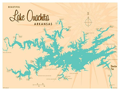 Lake Ouachita Arkansas Map Vintage-Style Art Print by Lakebound (9