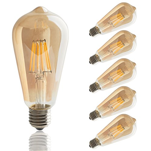 LED Edison Bulb,6w Dimmable Led Light Bulb, Vintage LED Filament Light Bulb, st64 led Bulb,2700K, Antique Style, e26 Medium Screw Base, Amber Glass Cover,6 Pack.