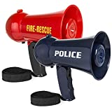 Best Choice Products Set of 2 Toy Megaphones w/ Siren and Volume Control, Red/Blue