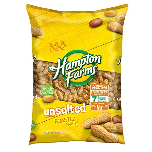 Peanuts Salted Shell - Hampton Farms No Salt Roasted In Shell Peanuts, 5 lb. Bag
