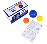 TriPrime Myofascial Release Massage Ball set - 2 Spiky Balls - Physical Therapy, Foot Massager & Plantar Fasciitis with Deep Tissue Trigger Point Lacrosse Ball Roller