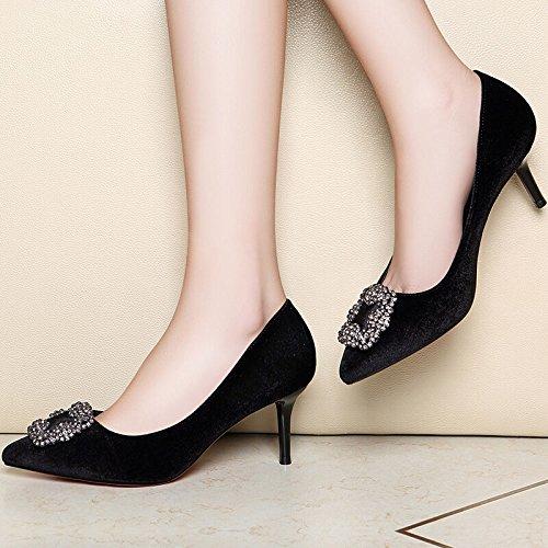 KHSKX-High Heel Single Shoe Woman Spring New Casual Women'S Single Shoes Thin Heel High Heel Shallower Shoes Black