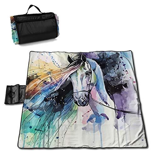 Watercolor Running Horse Picnic Mat 57 * 59in Picnic Blanket Lightweight Waterproof Non-Slip Beach Mat,Camping Hiking Waterproof Carrier Bag