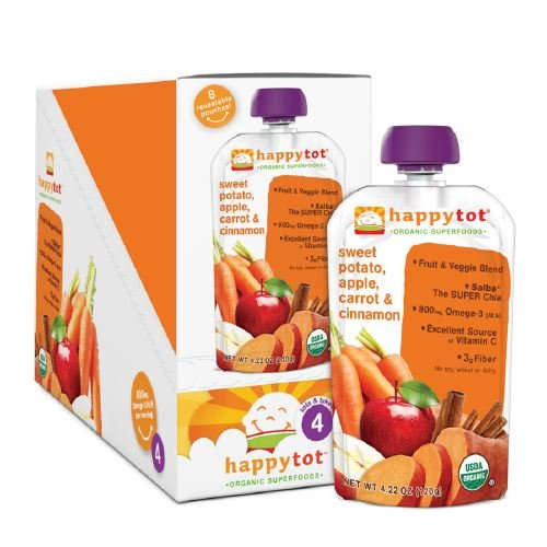Happy Tots Organic Superfoods, Sweet Potato, Carrot, Apple & Cinnamon 4.22 oz (120 g) (Pack of 4)