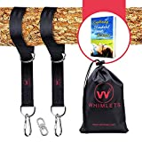 Whimlets Tree Swing Straps Hanging Kit 10ft – Two 5ft Straps Hold 2000lbs – Perfect for Swings and Hammocks – Easy and Fast Installation – with Bonus Carabiners, Stainless Steel Swivel and Free eBook Review