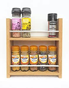 SilverAppleWood Solid Oak Spice Rack - Holds Up To 10 Spice And Herb Jars - Deep Capacity For Larger Jars And Bottles - 2 Tiers/Shelves