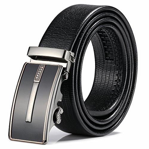 ANDY GRADE Men's Leather Belts Ratchet Dress Belt With Automatic Buckle Gift Box (35