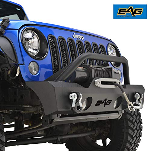 (EAG Stubby Front Bumper W/Fog Light Holes for 07-18 Jeep Wrangler JK)