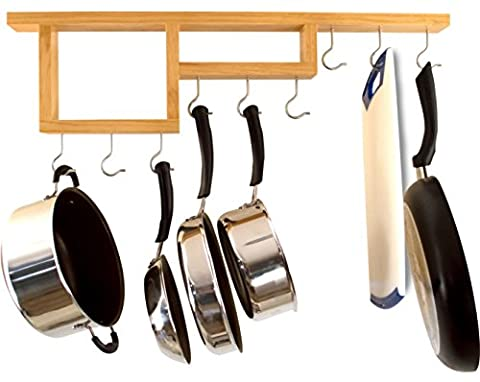 Pot Rack: Easy to Reach Ceiling Mount Solid-Wood Pan Hanger by HomeHarmony - Wood Pot Rack