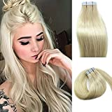 Myfashionhair Tape In Human Hair Extensions 20inches platinum blonde 20pcs 50g Set Silky Straight Skin Weft real human remy hair pieces(20 inches, #60)