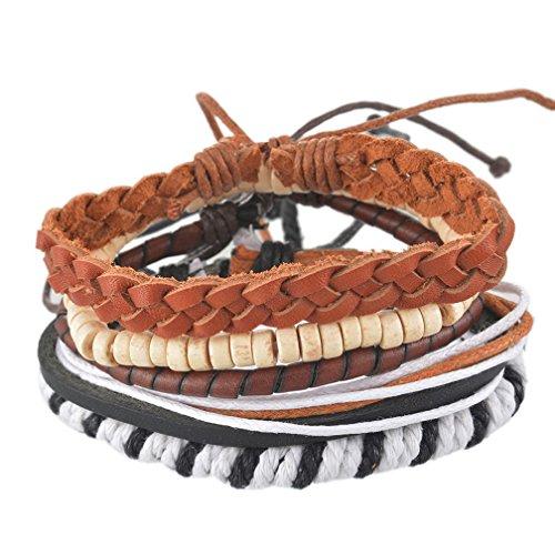 MJartoria Unisex PU Leather Hemp Cords Beaded Multi Strands Adjustable Wrap Bracelets Set of 5 (Hemp Bracelet Pack compare prices)