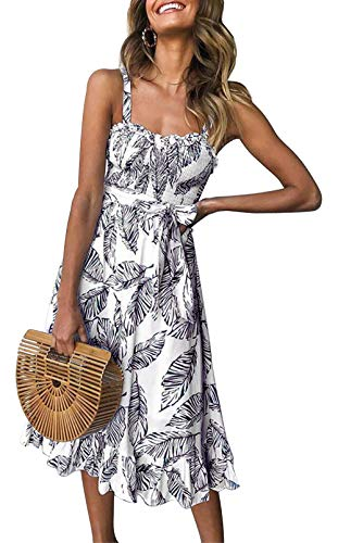 PRETTYGARDEN Women's Summer Sunflower Boho Spaghetti Strap Semi-Backless Button Down A-Line Midi Dress with Belt and Pockets (133_Black, Medium)