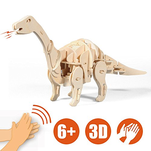 Lychee 3D Educational Gift Wooden Sound Control Dynamic Dinosaur Jigsaw Puzzle, DIY Assemble Dinosaur Robot Wood craft Toy Kit For Age 8+ Boy&Girls (Aptosaurus)