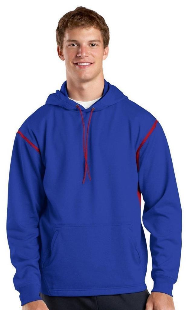 Sport-Tek Men's Tall Tech Fleece Colorblock Hooded 2XLT True Royal/True Red by Sport-Tek