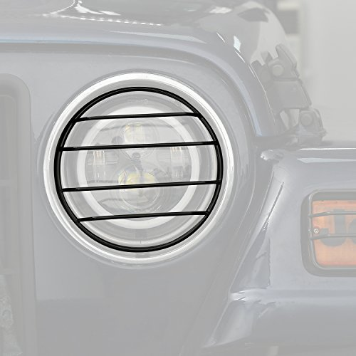 Hooke Road Headlight Cover Front Light Guards for 1997-2006 Jeep Wrangler ()