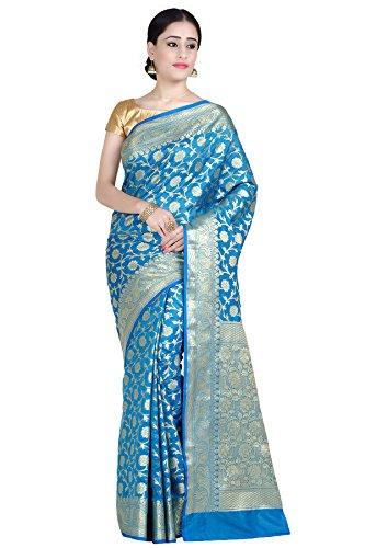 Chandrakala Women's Turquoise Kataan Silk Blend Banarasi Saree,Free ()