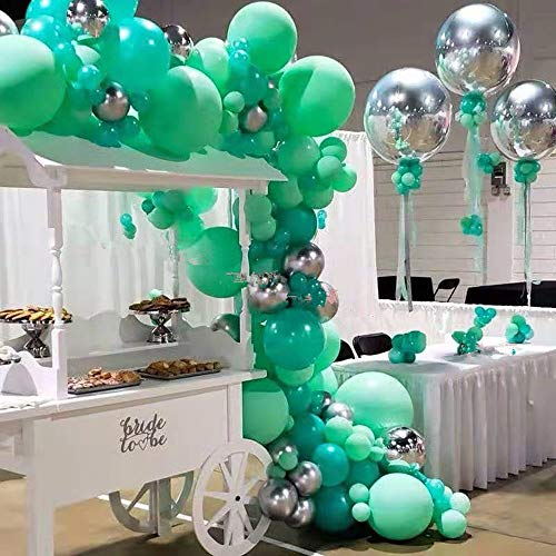 Pinbra Mint Green Balloons Garland kit 103 Silver Metallic Balloons Peal Green Latex Balloon Decoration kit: 16ft Balloon Strip Tape 100 Balloon Dot Glue and Balloon Ribbon for Baby shower Kids Adult Birthdays Jungle Safari Theme Party Decor