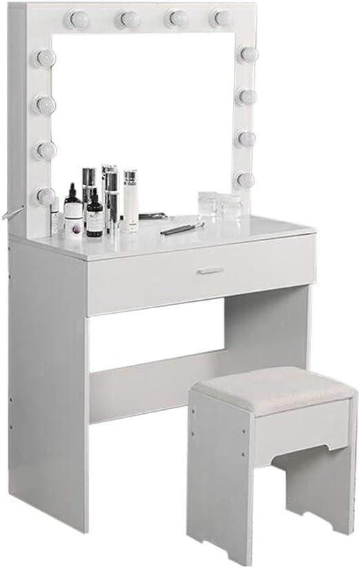 White Bedroom Furniture Makeup Vanity Dressing Table Dresser Desk with Large Drawer for Bedroom Riforla Vanity Set with Lighted Mirror 12 Cool LED Bulbs