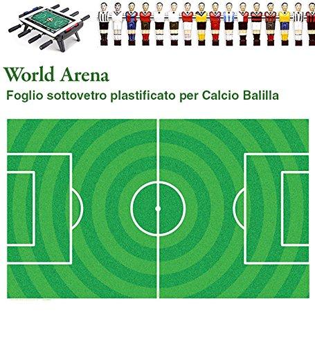 Calcio Balilla cartoncino sotto vetro universale World Arena, plastificato resistente ai raggi UV. Calcio Balilla Vari